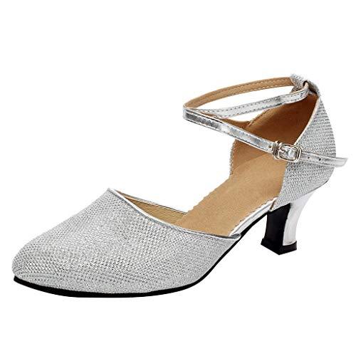 TIFIY Damen Tanzschuhe Damen Standard Tango Latin Salsa Tanzschuhe Pailletten Schuhe Social Dance Schuh Party Tanzen Salsa Tango Ballsaal Latin Tanzschuhe Silber 39