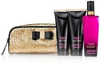 VICTORIA 'S SECRET Night Gift set : Fragrance Lotion 100ml/3.4oz + Fragrance Mist 125ml/4.2oz +Fragrance wash 100ml/3.4oz + Gold Cosmetic Bag .