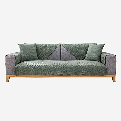 kinfuki Funda Sofa Resistentes antisuciedad,Cotton Universal Quilted Sofa Cushion-Dark Green_90*160