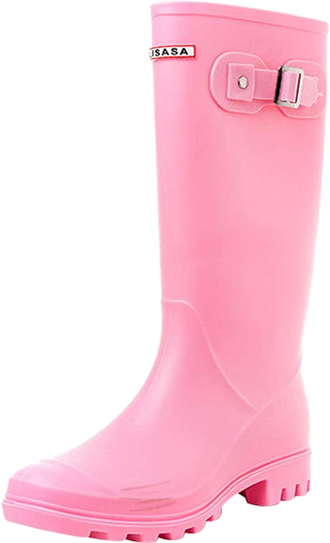 Sekesin Women Knee High Wellies Waterproof Ladies Slip On Wellington Boots Long Shaft Welly Rain Boots Anti Slip