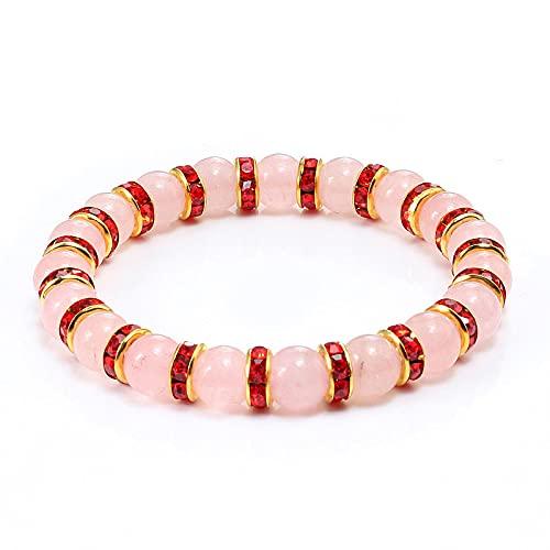YITIANTIAN Pulsera de Diamantes de imitación de ónix de Piedra Natural Rosa para Mujer, Pulseras con Cuentas elásticas a Distancia, brazaletes para Chica, Regalo de joyería para Amantes de la Moda