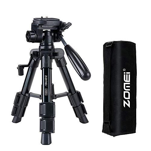 ZOMEi Mini Stativ Q100, Kamera Stativ leichtes tragbares Aluminiumkamera-Reise-Tischstativ mit Schnellwechselplatte, Schwenkkopf kompatibel für Smartphones und Kamera mit Tragetasche