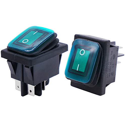 Taiss /2 unids interruptor basculante impermeable 16A 250V 20A 125V 4 pines 2 posiciones ON/OFF DPST luz LED verde iluminada KCD2-201N-2-W-G