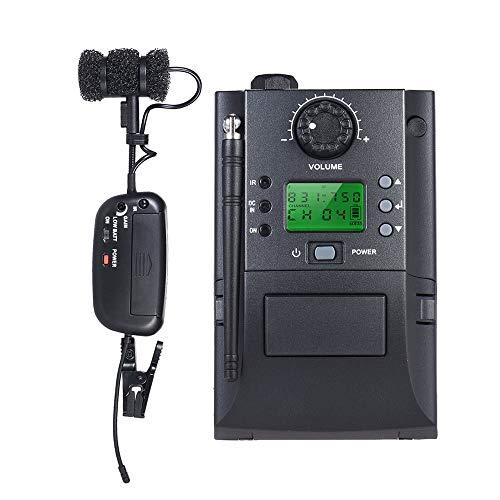 Draagbare klem clip op UHF instrument tuner microfoonsysteem met ontvanger zender 32 kanalen voor Sax Saxofoon muziekinstrumenten & DJ-apparatuur (kleur: US)