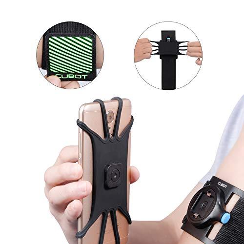 CUBOT Sport Armband Handy, Abnehmbare Handytasche fürs Oberarm, Sportarmband für Ideal geeignet für Laufen, Joggen, UVM für iPhone 6/6P/7/7P/8/8P, Huawei, Samsung Galaxy, Honor, Oneplus Schwarz