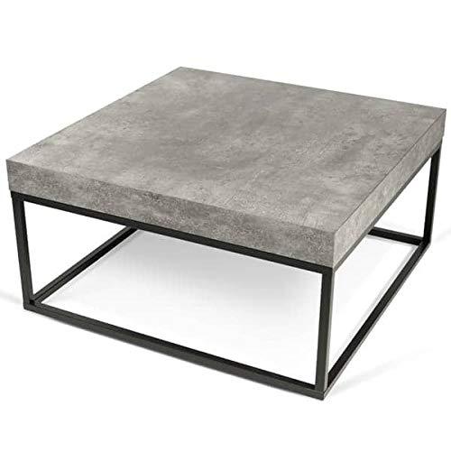 Petra, Table d'appoint ou Table Basse : Le béton et l'acier, sans Le béton - Designer : INÊS MARTINHO - 75 x 75 x 38 cm - Aspect béton Mat, Lisse au Toucher, piétement métal Noir