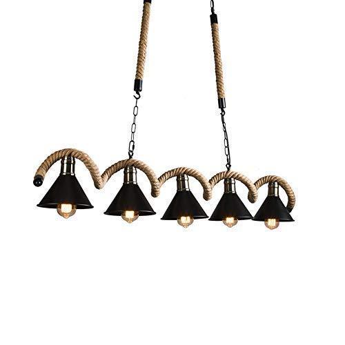 Lámpara de araña vintage de 5 luces con pantalla de cuerda natural, lámpara colgante colgante ajustable antigua, acabado de bronce frotado con aceite, lámpara de araña larga ondulada de hierro forjado
