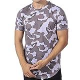 Xia&Han Men's T-Shirt Mens Slim Fit Cool Dry Print Floral Camouflage Crewneck Loose-Fit Short-Sleeve Pure Color T-Shirts (XXL-US Size:L, Gray)
