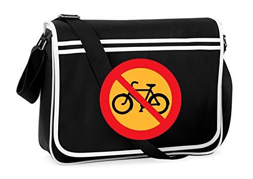 Druckerlebnis24 Schultertasche - Kein Biken Fahrrad Radfahren - Umhängetasche, geeignet für Schule Uni Laptop Arbeit