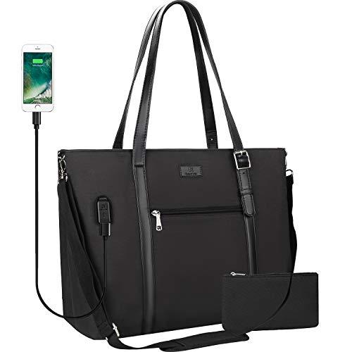 USB Laptop Tote Bag,Chomeiu Woman 15.6 inch Laptop Organizer Bag Teacher Work Purse Black Size: 15.6