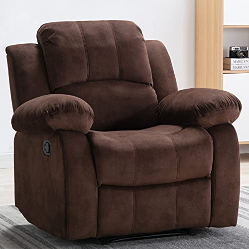 Bonzy Home Air Velvet Recliner Chair Overstuffed Heavy Duty Recliner - Velvet Fabric Home Theater Seating - Manual Bedroom & Living Room Chair Reclining Sofa (Brown Fabric)