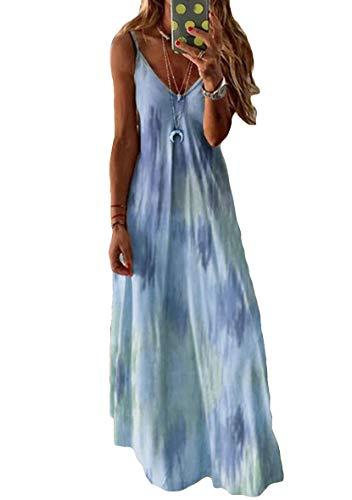 YMING Frauen V-Ausschnitt Kleid Ärmellos Kleid Boho Urlaubskleid Maxikleid Hellblau M