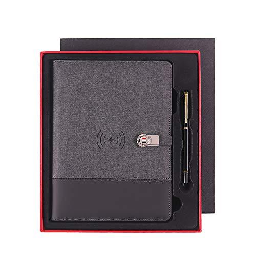 POWER BANKS Multifunktionales Business A5 Notizbuch 8000 mAh Qi Wireless-Ladegerät für Laptop Binder Spiral Diary Planner für iPhone und Android,C