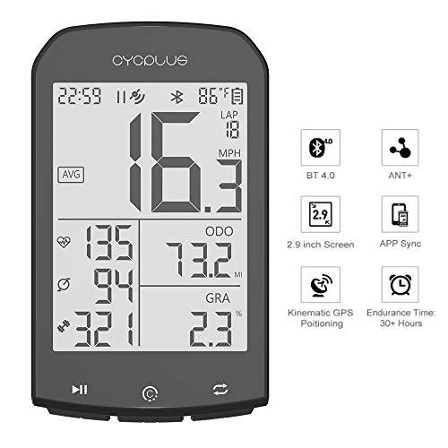 Linghuang GPS Fahrradcomputer Wasserdicht Fahrrad Tacho Kilometerzähler ANT + Wireless Speedometer Bluetooth Kompatibel mit App 2,9 Zoll LCD-Display mit Hintergrund Beleuchtung