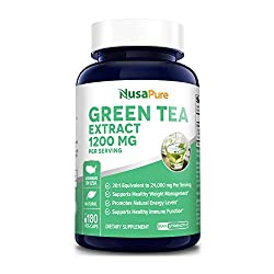 cheap Green Tea Extract 98% 1200 mg and EGCG Extract 180 Vegetarian Capsules (GMO Free and Gluten Free)…