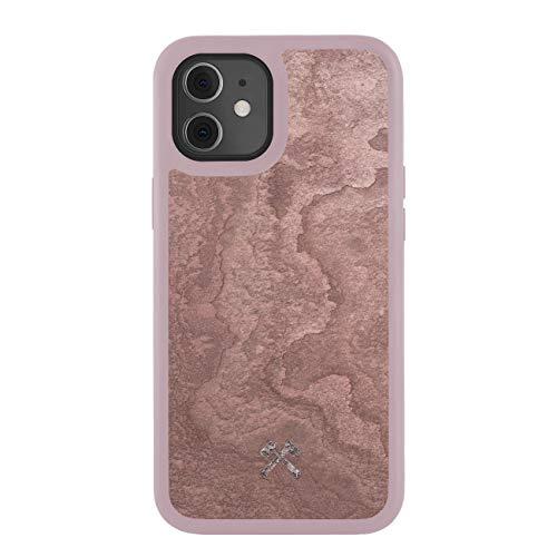Woodcessories – Funda, Carcasa Compatible con iPhone 12 Mini, De Piedra de Pizarra Real, EcoBump Stone (Rojo Cañón)