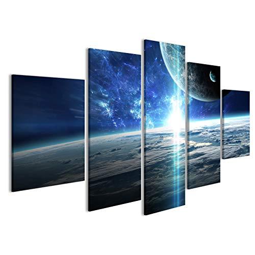 islandburner Bild Bilder auf Leinwand Universumszene mit Planeten, Sternen und Galaxien im Weltraum Wandbild Leinwandbild Poster DTS