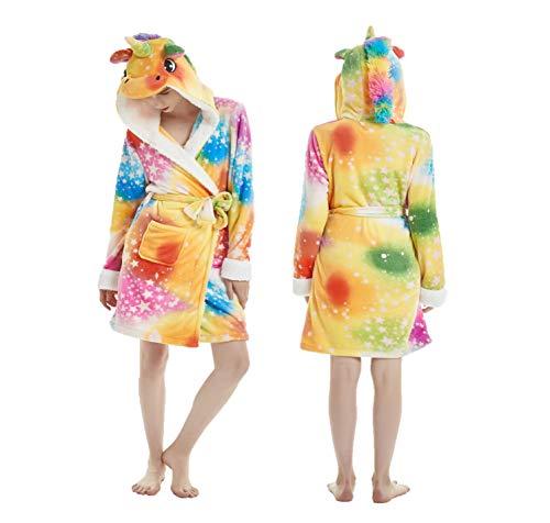 eBoutik Estrella de Chicas Arco Iris Sirena Unicornio Albornoz Bata 3D Cuerno Mágico Púrpura Rosa Amarillo Pijamas Pijamas (38/40, Multi Color con Estrellas Unicornio)