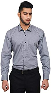 The Mods Men's Formal Grey Color Checkered Shirt