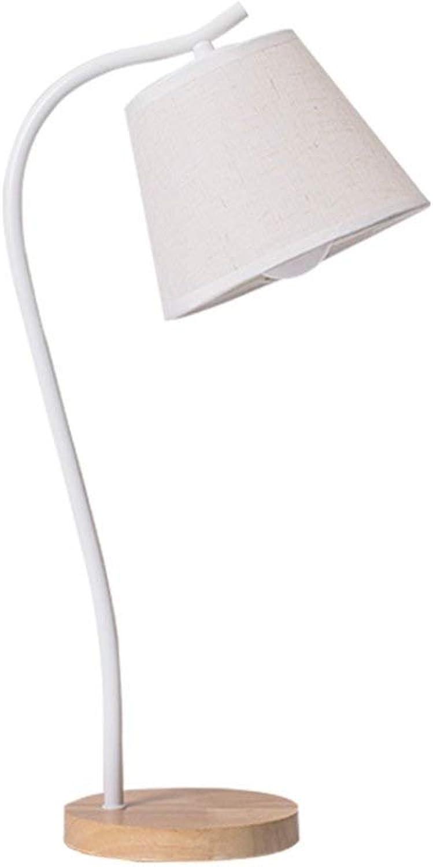 Massivholz Tischlampe Nordic Kreative Schlafzimmer Nachttischlampe Lernen Lesen Schreibtischlampe E27-Schreibtischlampe LED (Farbe   Wei)