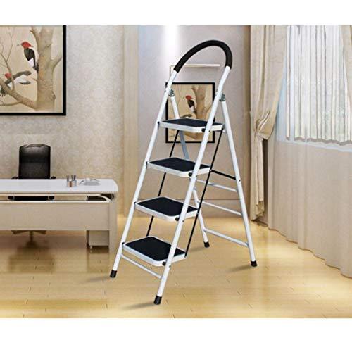 4-Step Hocker Leiter, tragbare Falten Stehleitern, Heavy Duty Stahl Schritt Hocker, Mehrzweckleiter, Anti-Rutsch-und Gummi-Handgriff, 330lbs Kapazität (Color : White)