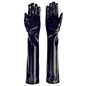 DreamHigh Women's 17″ Long Metalic Satin Cosplay Finger Gloves