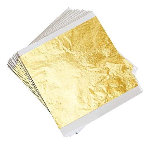 300 Hojas Papel de Oro de Imitación para Arte Manualidades Decoración y Muebles 14x14 cm