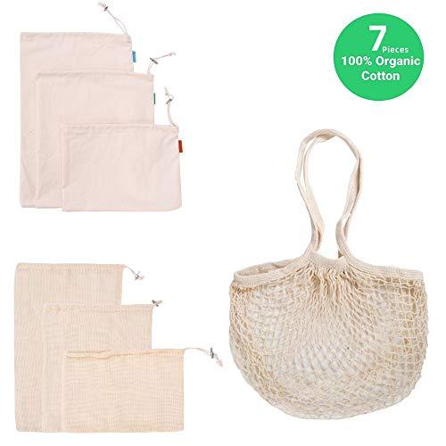 Herbruikbare Produce Tassen 7 stks Inclusief Organic Cotton Mesh Bag, Muslin Pouch en Winkelen Handtas, Zero Waste, Milieuvriendelijk, Lichtgewicht, Wasbaar voor Groente en Voedsel