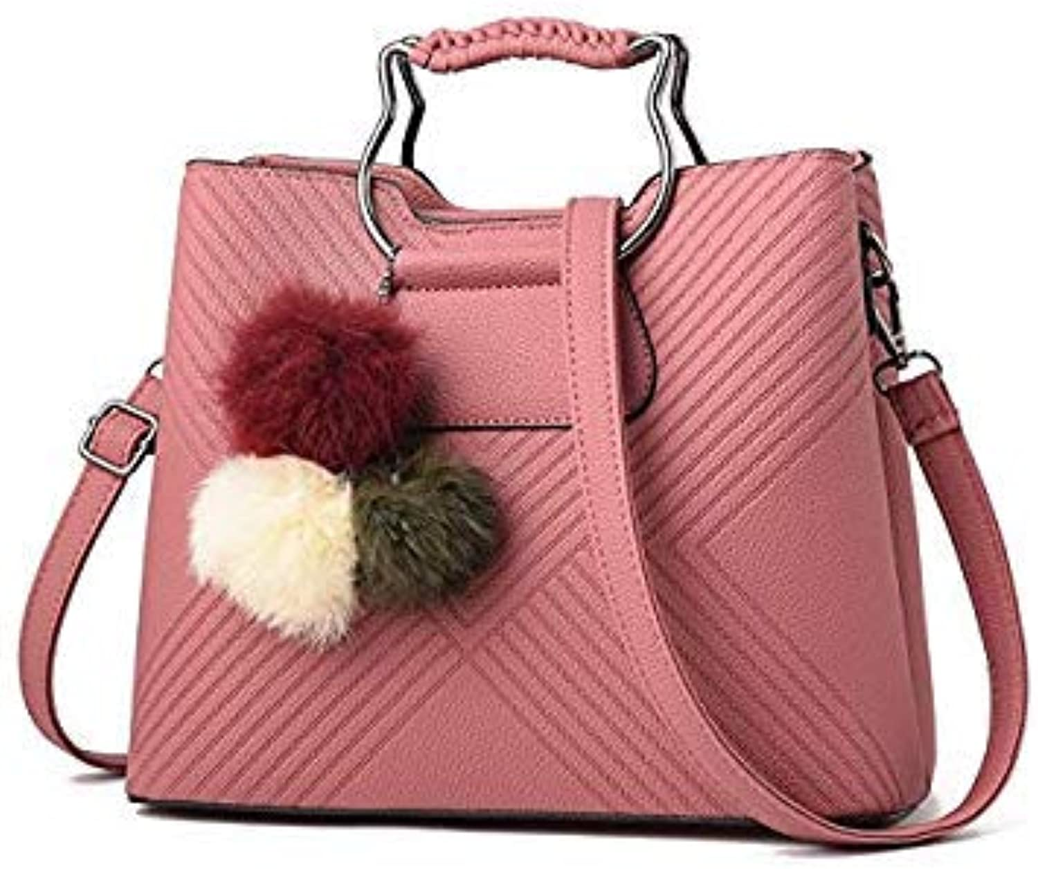 d743e433c7ccd Bloomerang Women Bags Leather Handbag Hair Ball Pendant Cute Cat Handle Shoulder  Messenger Bag Crossbody Bags