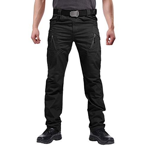 FEDTOSING Cargohose Herren Vintage Militär Tactical Hosen mit Stretch Arbeitshose Outdoor Viele Taschen Leichte Baumwolle Black 36x32