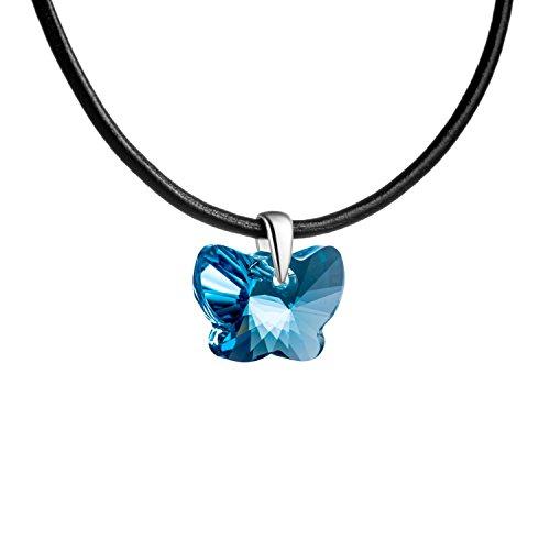 butterfly Bambine Ragazze Collana in Cuoio Elementi Swarovski Originali Farfalla Azzurro Lunghezza Regolabile Sacchetto per Gioielli Regalo Ragazza Bambina