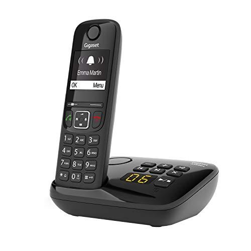 Gigaset AS690A Schnurloses Telefon mit Anrufbeantworter , kontrastreiches Display mit Jumbomodus , brillante Audioqualität , einstellbare Klangprofile , Freisprechfunktion , Anrufschutz, schwarz