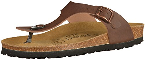 JOE N JOYCE RIO Unisex Thong Sandals, Flip Flops with a Comfort-Footbed for Men & Women, Size W8/M6 US, Brown, SynSoft, trendy Roman style, one strap, Boys, Girls