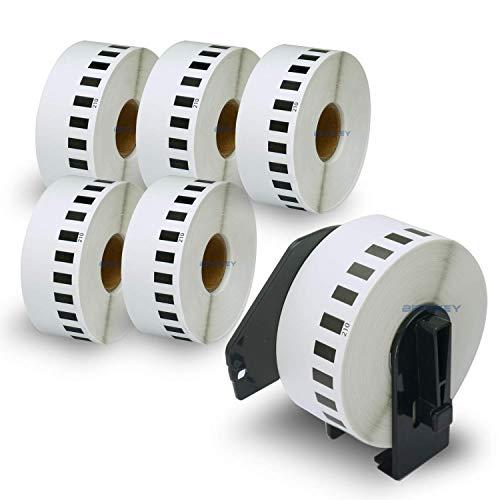 BETCKEY Etiketten kompatibel mit Brother DK-22210 29mm x 30,48m 6 Rollen+1 Halter, Endlose Papier Etiketten für Brother: QL1050 QL1060N QL500 QL550 QL560 QL570 QL600 QL700 QL710W QL720NW QL-1100