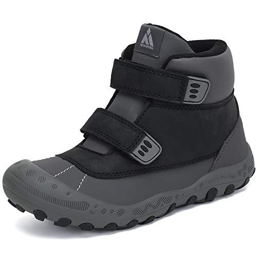 Mishansha Trekking Wanderschuh Kinder Leichtes Klettverschluss Wasserdicnt Kinderschuhe rutschfeste High Top Sneaker Junge Komfortable Schuhe für Mädchen Outdoorschuen Schwarz 30 EU