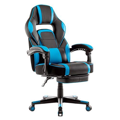 IntimaTe WM Heart Racing Stuhl, Gaming Stuhl mit Hoher Rückenlehne, Ergonomischer Bürostuhl aus Kunstleder, Chefsessel mit Taillenstütze und ausziehbarer Fußstütze (blau)