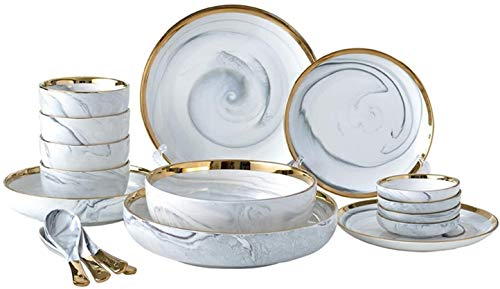 LIAN Phnom Penh 18-Piece Marble Dishes Tableware Set