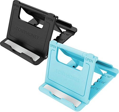 TONYHONEY Handy Ständer Halter, Universal Faltbare Multi-Winkel-Desktop-Handy-Halter 2 Pack Kompatibel mit Tablet iPhone X / 6/7 / 8Plus und Samsung Galaxy s6 s7 s8 S9 (Blau)
