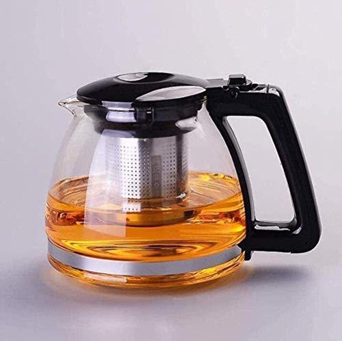 Tetera de vidrio transparente con infusor de té extraíble para té floreciente y hojas sueltas, apta para microondas y estufa, olla de té y colador de té de 1000 ml, 2000 ml (color: B) (color: A)