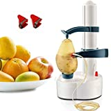 Mifidy Automatic Electric Potato Peeler Rotating Fruits & Vegetables Cutter Apple Paring Machine Kitchen Peeling Tool for Fruit Vegetables Battery Powered (White)