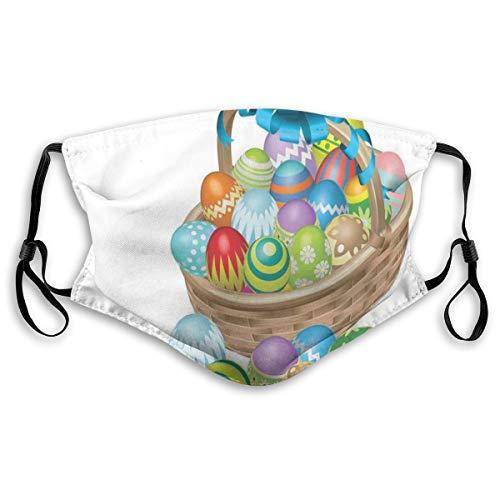 MundschutzAtmungsaktiveGesichtsmundabdeckungStaubdichter,Basket of Colorful Ornamental Eggs with A Blue Ribbon Spring Season Easter Holiday,PrintedFacialDecorationsforAdult,M