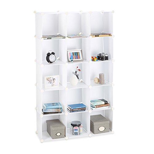 Relaxdays Estantería Modular con 15 Compartimentos, Blanco, 37x49x176 cm