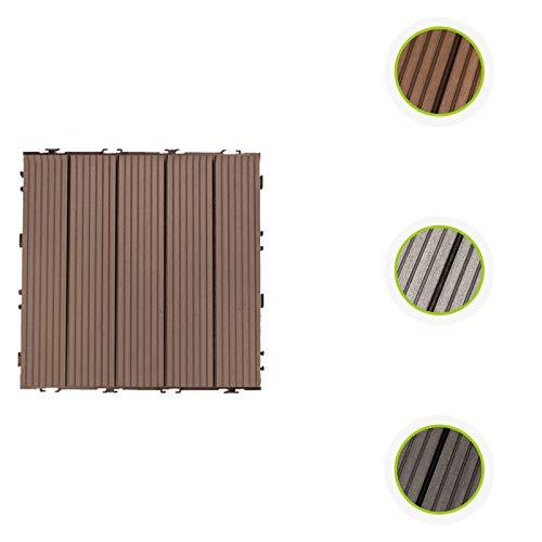 HORI - Baldosas para terraza WPC I Klick de plástico con aspecto de madera I Modelo: cuadrado marrón