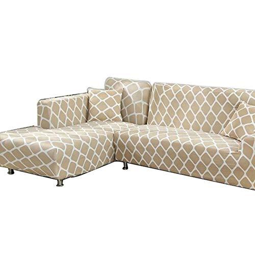 Jay Funda de sofá para Sala de Estar Sofá seccional Fundas para sillas Fundas para sofá de Dos plazas Textiles para el hogar elásticos universales,Beige,3—Seater(195—230cm)