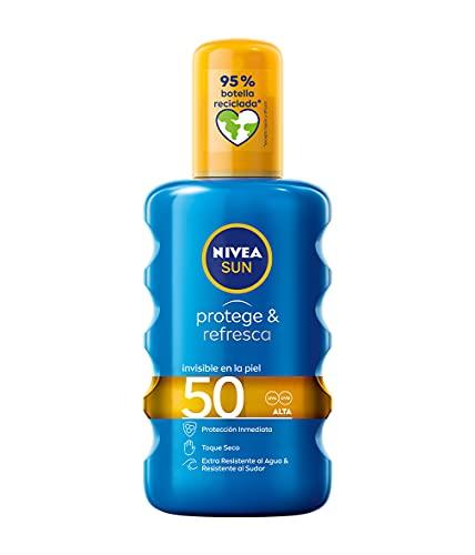 NIVEA SUN Protege & Refresca Spray Solar FP50 (1 x 200 ml), spray con protección UVA/UVB, protección solar alta invisible, refrescante y resistente al agua