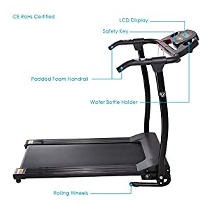 AW Folding Electric Treadmill Portable Running Walking Treadmill with LCD Display Easy Assembly for Home Cardio Exercise