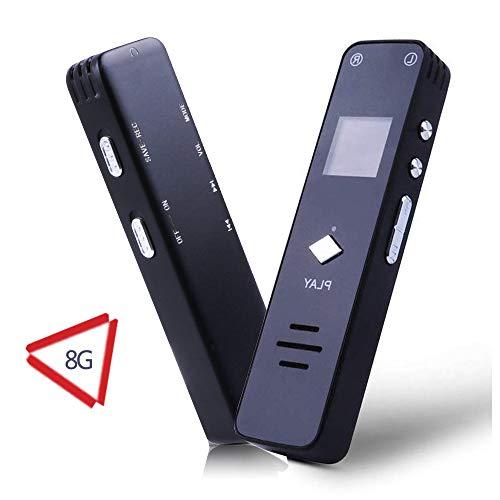 Digital Voice Recorder 8GB USB dittafono Voice Recorder con lettore MP3 Voice Activated Recorder Protezione della password 50m Distanza di registrazione A-B Repeat per riunioni, lezioni, interviste