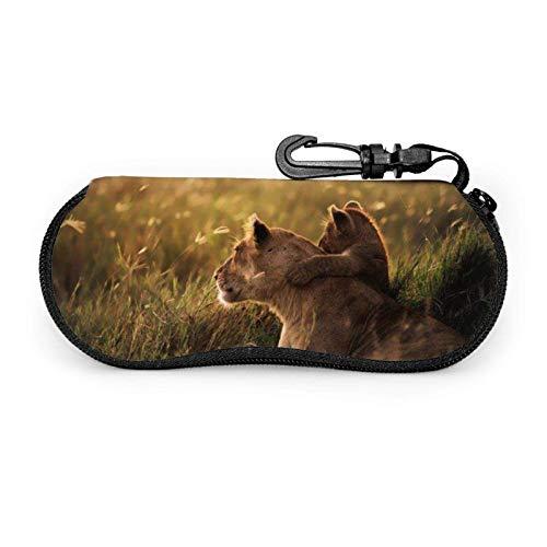 AEMAPE Funda para gafas Lion, funda blanda portátil unisex para gafas de sol con cremallera de neopreno para bebé