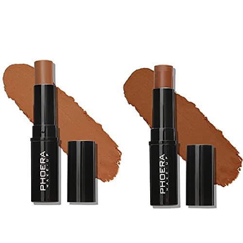 2 Pack PHOERA Foundation Stick, Shading Contour Stick for Makeup that Effortlessly Covers Contours, Provides Pleasant Wearing Comfort. Waterproof Long-lasting Effect. (207# Caramel&208# Espresso)