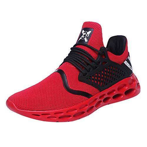 AIni Herren Schuhe,2019 Neuer Heißer Mode Beiläufiges Atmungsaktiver Schnürschuh Sport Athletic Walking Running Shoes Sneakers Partyschuhe Freizeitschuhe(44,Rot)